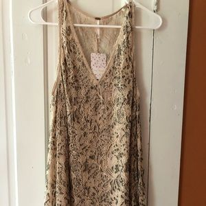 Free people beaded lace dress with slip